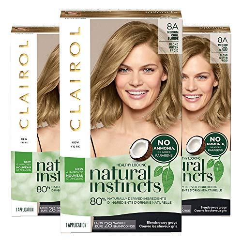 Clairol Natural Instincts, 8A Medium Cool Blonde, Linen, 3 Count
