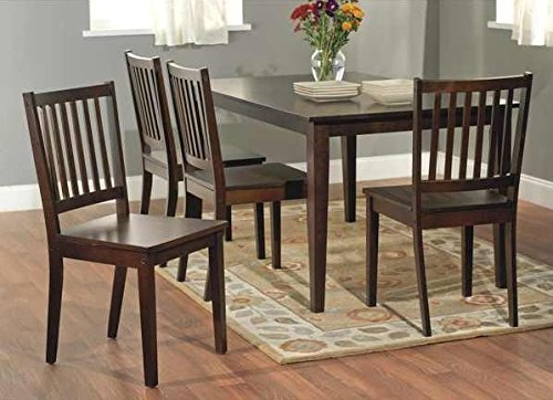 Amazoncom Slat Espresso Wooden Dining Chairs Set of 4 A Good