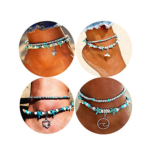 - Dremcoue Blue Starfish Beach Turtle Anklet for Women Girls Boho Handmade Adjustable Beads Ankle Bracelet Foot Jewelry for Summer 3-4 pcs