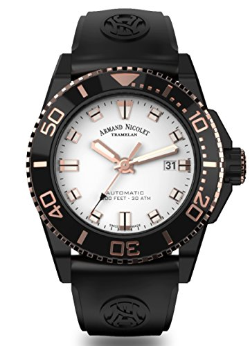 Armand Nicolet Men's Diver Automatic Watch Black Rose Gold Tone with Rubber Bracelet A480AQS-AS-GG4710N
