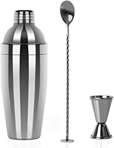 Restlandee Cocktail Shaker, Professional Stainless Steel Martini Shaker, 24 Ounces Shaker Bar Set Built with Measuring Jigger and Mixing Spoon, Measuring Jigger, Best Bar Ware, Sleek Drinking Shaker