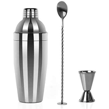 Restlandee Cocktail Shaker, Professional Stainless Steel Martini Shaker, 24 Ounces Shaker Bar Set Built with Measuring Jigger and Mixing Spoon, ...