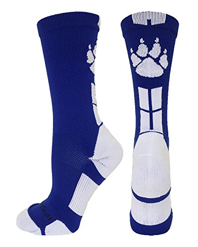 MadSportsStuff Wild Paws Crew Socks (Royal/White, Small)