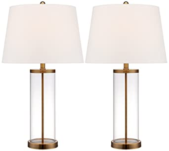 Glass and gold cylinder fillable table lamp set of 2 amazon mozeypictures Choice Image