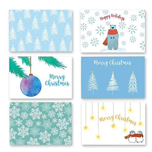 36-Pack Merry Christmas Greeting Cards Bulk Box Set - Xmas Greeting Cards with Festive Winter Holiday Designs, Envelopes Included, 4 x 6 Inches
