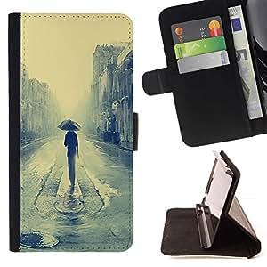 Momo Phone Case / Flip Funda de Cuero Case Cover - Londres lluvioso Pintura;;;;;;;; - Samsung Galaxy S3 III I9300