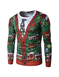 GETHIS Men's Ugly Christmas Pullover Funny 3D Printed Crewneck Sweatshirt Casual Tees T-Shirts Faux Ugly Cardigan Top