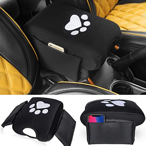 Neoprene Center Console Armrest Pad Cover with Side Storage Pockets for Jeep Wrangler JK Sahara Sport Rubicon X & Unlimited 2007-2018 with Dog Paw Print Logo ()