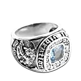 Adisaer Biker Rings Silver Ring for Men Dragon Tiger Pattern Blue Gemstone Ring Size 11 Vintage Punk