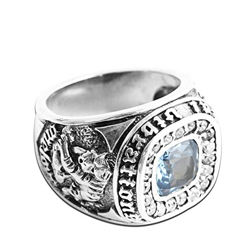 Adisaer Biker Rings Silver Ring for Men Dragon Tiger Pattern Blue Gemstone Ring Size 9 Vintage Punk by Adisaer