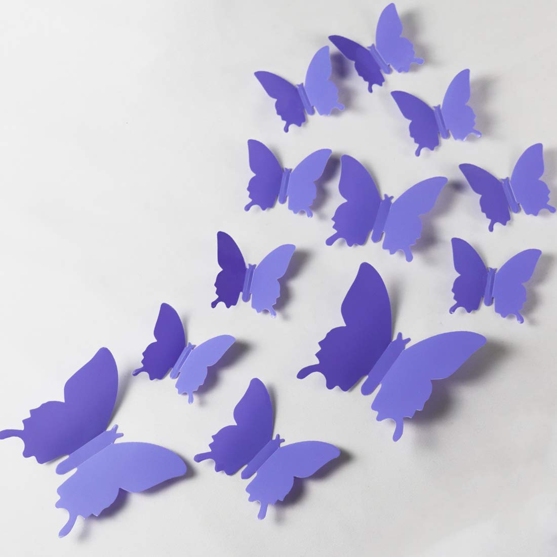 24pcs 3D Butterfly Removable Mural Stickers Wall Stickers Decal for Home and Room Decoration (Indigo)