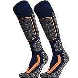 WEIERYA Ski Socks, Warm Knee High Performance Skiing Socks, Snowboard Socks (Navy blue 2 Pairs, Large)