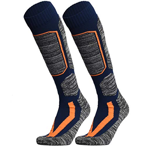 WEIERYA Ski Socks, Warm Knee High Performance Skiing Socks, Snowboard Socks (Navy blue 2 Pairs, Large)