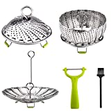 Folding Steamer Stainless Steel Vegetable Steamer Basket with Metal Handle Foldable Legs with Extra Accessories- Safety Tool & Clean Brush & Peeler (5.3'' to 9'') (Folding Steamer Basket)