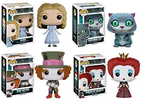 Pop! Disney Alice in Wonderland Mad Hatter, Alice, Cheshire Cat and Queen of Hearts! Vinyl Figures Set of 4 by Disney