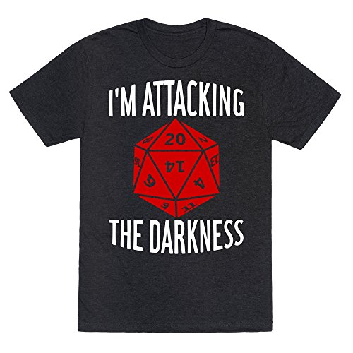 Lookhuman Im Attacking The Darkness Heathered Black Xl Mens Unisex Fitted Triblend Tee