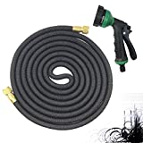 Telescopic water pipe Garden Cleaning dust-proof Water pipe Latex hose Car wash water gun Multifunction 3 times automatically shrink Adjustable water flower car washing watering ABS , Black