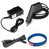 Garmin GPS Nuvi 260w Accessory Bundle - Car Charger + Home Travel AC Charger + USB Data Cable
