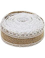 2 M Hessian Natural Burlap Craft Ribbon Roll With White Lace For Diy Handmade Wedding Crafts Lace Linen DurableInUse Nice Design