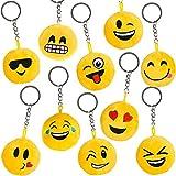 German Trendseller® - 6 x emoji porte-clés en peluche┃drole smiley ┃pendentif┃ émoticons ┃l'anniversaire d'enfant┃ extra pelucheux┃ petit cadeau