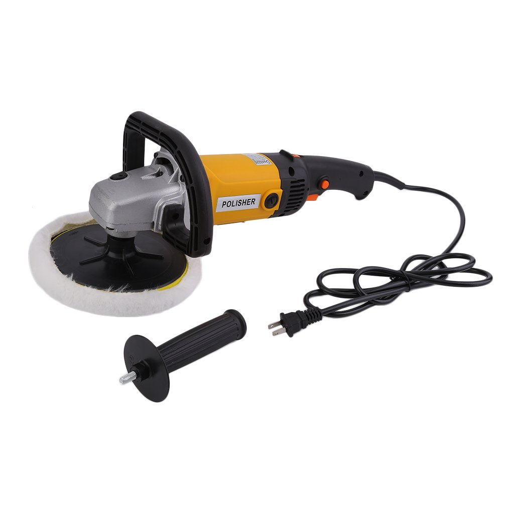 5082 7inch Electric Car Polisher 6 Variable Speed Buffer Waxer Sander Detail Boat w/ Wool Bonnet and Wheel Pad | 8.5 Amp, 1500-3000 R.P.M. by Coldcedar
