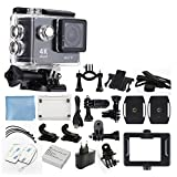 4K Ultra HD DV 12MP 1080p 60fps Sports Action Camera (Black) - Wi-Fi + 170° Wide Angle Lens + Waterproof Case, Clip & Bracket + Bike Bracket + Cleaning Cloth + Top Value Accessory Bundle