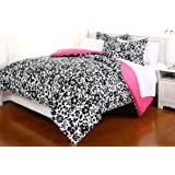 5 Pieces Black White Reversible Comforter and Pink Sheet Set for All Seasons, Twin X-Large, Amelia