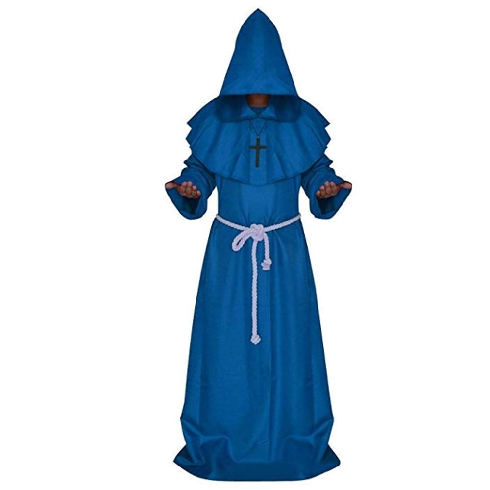 Priest Robe Halloween Cosplay Costume Hooded Cloak Halloween Monk Costume for Men