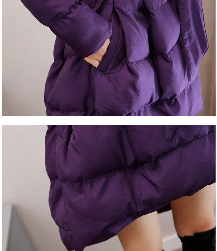HSDFKD Invernale Donna Cappotto in Cotone con Calda Addensare Cotone Outwear Vita Sottile Tinta Unita Manica Lunga Risvolto viola