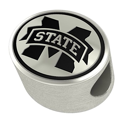 Mississippi State University Bulldogs Sterling Silver Antiqued Bead Fits Most European Style Charm Bracelets