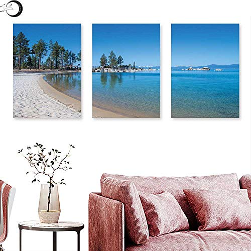 J Chief Sky Lake Tahoe Wall hangings Clear Water in Shore of Lake Tahoe Idyllic Calming Scene Triptych Wall Art Azure Blue Coconut Forest Green Triptych Art Canvas W 16