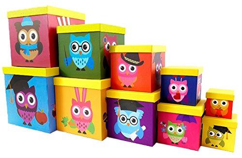 Brand sseller carta regalo scatola di cartone con coperchio–Buona Qualità cartone quadrato–10er SET IN MISURA decrescente, Cartone, gufo, 26,5cm x 26,5cm x 26,5cm - 8,5cm x 8,5cm x 8,5cm Brandsseller