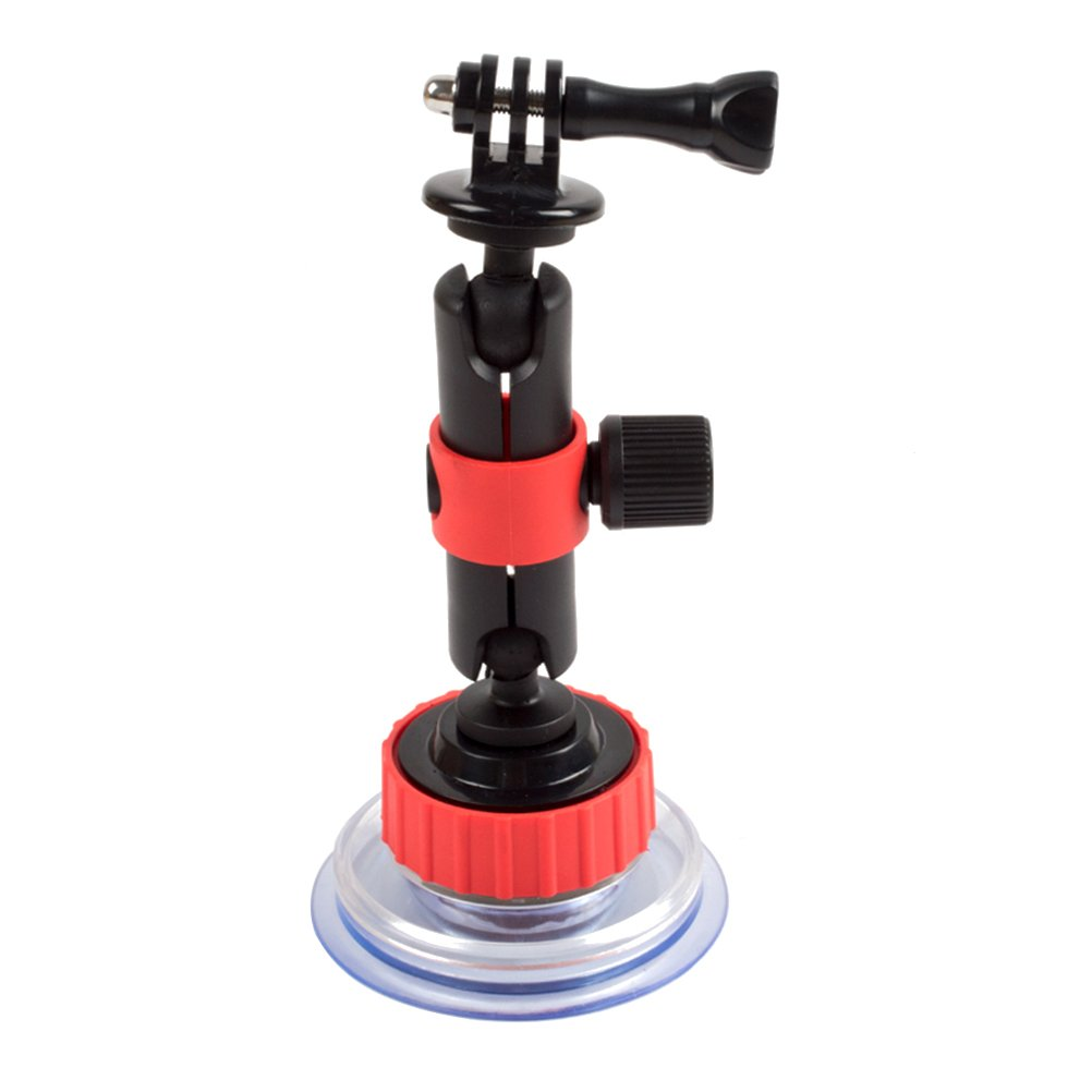 LEDMOMO Action Camera Curving Suction Cup Mount for GoPro Hero Session and Other Action Cameras (Black and Red)