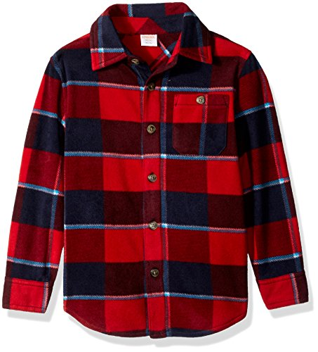- Gymboree Boys' Little Long Sleeve Polar Fleece Knit Shirt, red Plaid M
