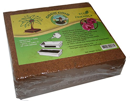 Husk Coconut Brick (Compressed Coconut Coir Brick, 10 Pound (lb)-Green Texan Organic Farms)