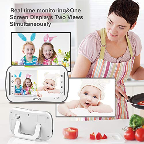 """51ccapeIvVL - [HD] Video Baby Monitor, AXVUE 720P 5"""" HD Display, IPS Screen, 2 HD Cams, 12-Hours Battery Life, 1000ft Range, 2-Way Communication, Secure Privacy Wireless Technology"""