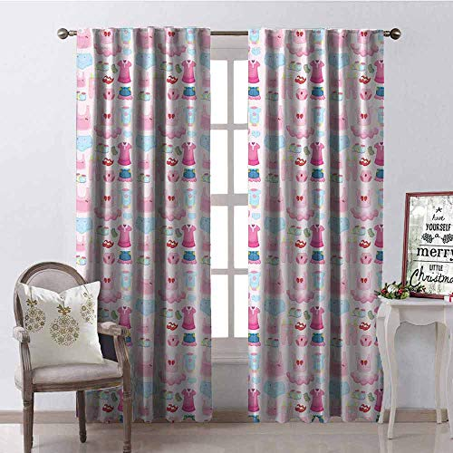 shenglv Baby Heat Insulation Curtain for Living Room or Bedroom W42 x L84 Inch Pale Pink Baby Blue Pink
