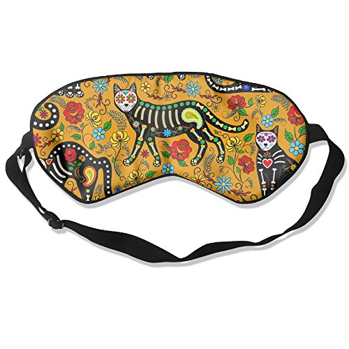 Sleeping Mask Calavera Cats and Sugar Skulls Adjustable Eyepatch Mask Eye Cover for $<!--$7.99-->