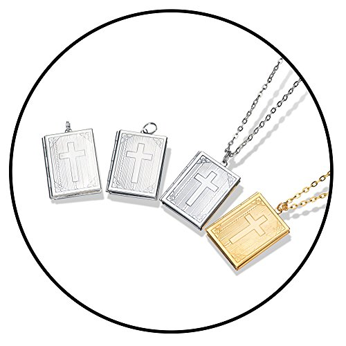 Bible Locket Pendant - Yumei Jewelry 8 Pcs Bible Cross Pendant for Womens Mens 4 Colors Necklace Pendant with 2 Premium Necklace Chain