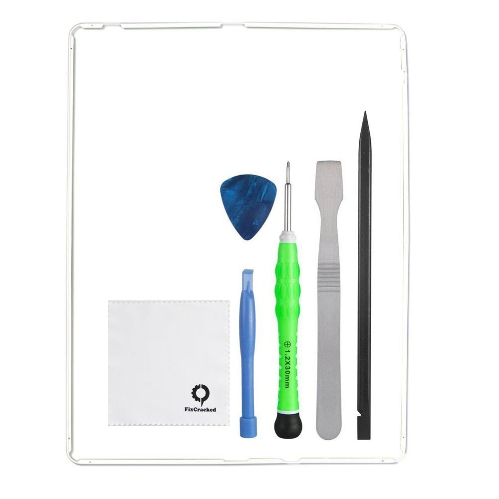 Fixcracked Touch Screen Replacement Parts Digitizer Glass Assembly for Ipad 3 white WIFI Antenna Cable and Professional Tool Kit