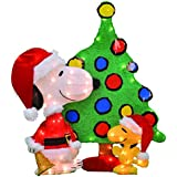 ProductWorks 32-Inch Pre-Lit Peanuts Snoopy and Woodstock Christmas Yard Decoration Set, 70 Lights