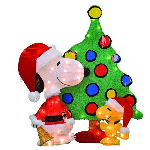 ProductWorks 32-Inch Pre-Lit Peanuts Snoopy and Woodstock Christmas Yard Decoration Set, 70 - Pre Christmas Decorations Lit