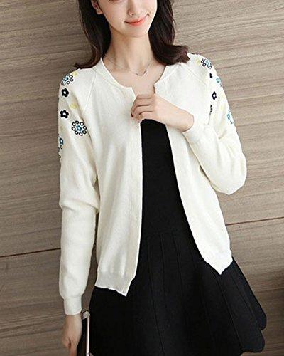 Lunghe Bianco Short Qitun Flowers Maniche Lavorato Donne Embroidered Jacket Cardigan SSwqTPpXxn