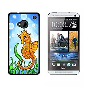 Seahorse Sea Horse Yellow - Ocean Water Cute - Snap On Hard Protective Case for HTC One 1 - Black by ruishername