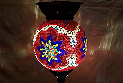 XXL moroccan lantern mosaic hanging lamp glass chandelier light turkish candle holder m 77