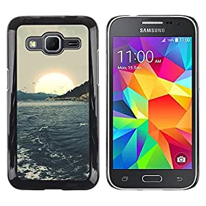 LECELL--Funda protectora / Cubierta / Piel For Samsung Galaxy Core Prime SM-G360 -- Sunset Sea Seagulls Waves --