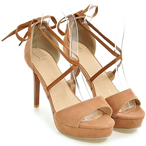 Moda camello Tacon Sandalias Mujer Aguja Zapatos Peep Criss de Plataforma COOLCEPT Toe gwfAHP