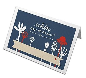 50 Tischkarten Schon Dass Du Da Bist Blau Weiss Rot Mit Blumen