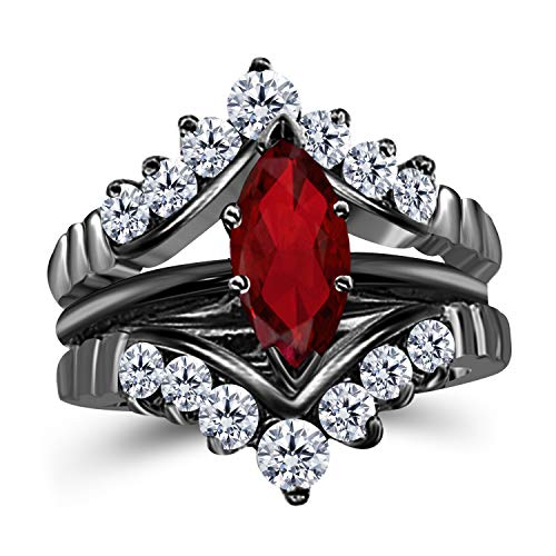 Gems and Jewels 0.75 Ct Marquise Solitaire Engagement Wedding Ring Band Set Enhancer Red Ruby 14k Black Gold Plated Alloy ()