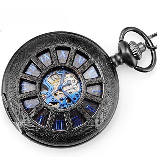 WENSHIDA Antique Half Hunter Mens Black Retro Blue Roman Numerals Dial Mechanical Pocket Watch Skeleton ()